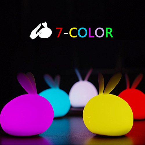 Silicone LED Night Light, ASICEN Cute Baby Kids Children Night Light Soft Silicone Warm Light Tap Control Lamp Rechargeable Bunny Sensor Touch Light Rabbit Gift Toy Night Light(7-color + 4-Brightness) by ASICEN (Image #1)