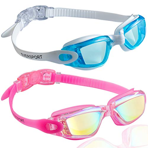 EverSport Swim Goggles, Pack of 2, Swimming Glasses for Adult Men Women Youth Kids Child, Anti-Fog, UV Protection, Shatter-Proof, Watertight(LightBlue&Mirrored Rose Red) ()
