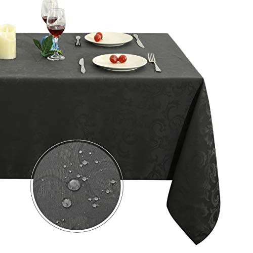 (Obstal 32 Rectangle Cloth, Oil Spill-Proof and Water Resistance Microfiber Tablecloth, Decorative Fabric Table Cover for Outdoor and Indoor Use (Grey,60 x 84 Inch), 60x84 Inch, Harmony Scroll)