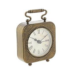 Park Hill Mini 4 Antique Style Bronze-Tone Metal Table Clock