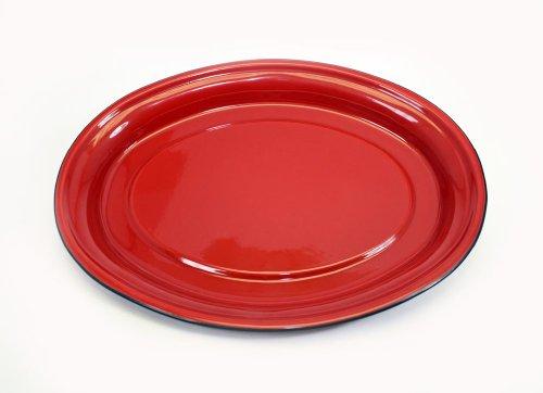 Enamelware Solid Red W/Black Trim Oval Serving Platter-17.5LX ()
