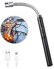 MOSUO Zapalniczka z łukiem świetlnym, ładowana przez USB, elektroniczna zapalniczka, zapalarka świec, odporna na wiatr, bezpłomieniowa zapalniczka do grilla, do zapalania świec, kuchenek gazowych, kuchni, czarna