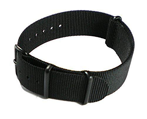 SWIGEN USA Military Army Mens Nylon Canvas Fabric Wrist Watch Band Strap Black 20mm (Usa Army Watch)