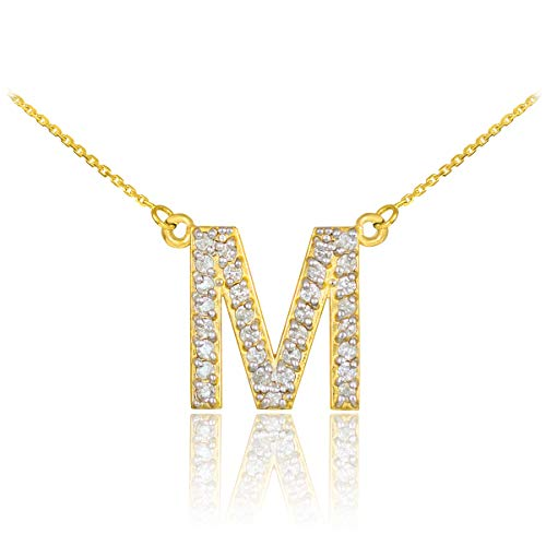 Fine 14k Yellow Gold Diamond-Studded Initial Letter M Pendant Necklace, ()