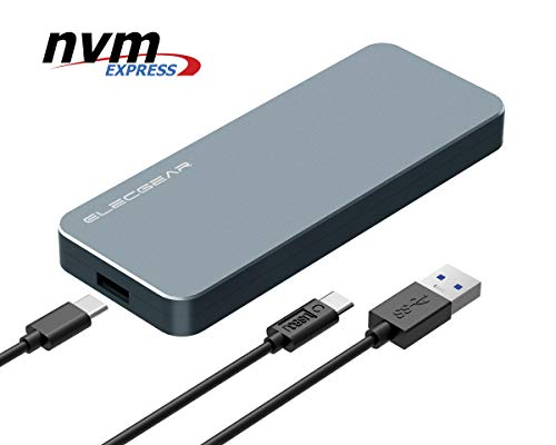 80g External Hard Drive - NVMe PCIe M.2 SSD to USB 3.1 Gen2 Enclosure - ElecGear NV-i9 10Gbps External Aluminum Cooling Case, 2280 PCI-E M2 M-Key NGFF HDD Card Reader Adapter, NVMe Caddy Hard Drive Box, USB Type A and C Cable