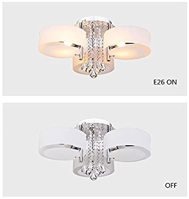 LOCO LED Modern acrylic crystal chandelier 3 lights (Chrome) ? Modern Ceiling Light Fixture For, Hallway, Bedroom, Living Room