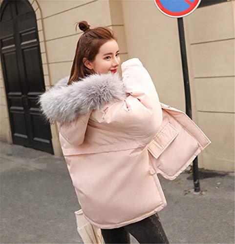 Chaud Hiver Doudoune Capuche à Rose Zip Fourrure Grande Col Taille Femme MISSMAO Épais Blouson ECqw11