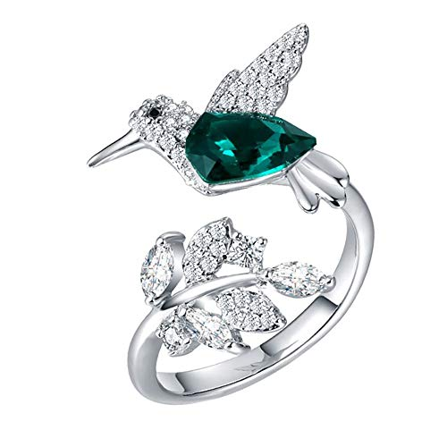 Hummingbird Sterling Silver Green CZ Flower Wrap Ring Ginger Lyne Collection