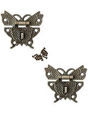 JINXM 2 stuks antieke decoratieve haken Haspe kleine doos latch hasps sieraden houten kist wijn gift sluiting voor decoratie juwelendoos houten koffer