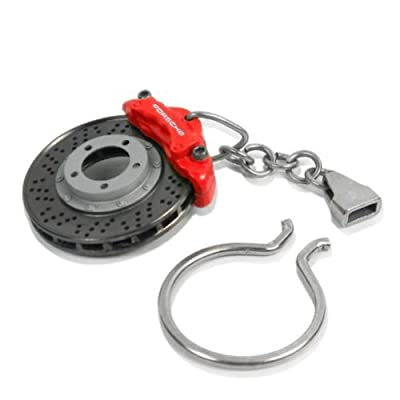 Porsche Red Racing Brake Disc Key Chain: Automotive