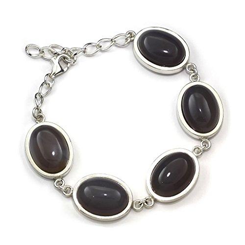 Mystic Silver - Bracelet Femme Agate naturele, en argent sterling 925/1000 et Longueur: 22cm, 34g