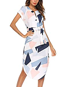 TEMOFON Womens Dresses Summer Casual Floral Geometric Pattern Short Sleeve Midi V-Neck Party Maxi Dress with Belt(S-2XL)