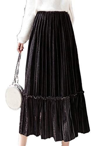 Women Skirts Winter Elegant Velour High Waist Solid Midi Pleated Skirt Black M
