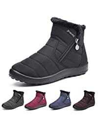 gracosy Women Snow Boots, Winter Fur Lined Warm Ankle Boots Slip On Anti Slip Waterproof Short Boots Black