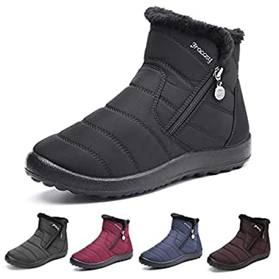 gracosy Warm Snow Boots Outdoor for Women Winter Fur Lining Shoes Anti-Slip Lightweight Ankle Bootie Waterproof Slip on Sneakers Black Size: 6