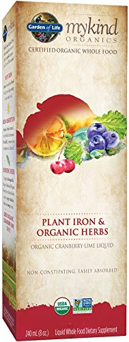 mykind Organics Organic Plant-Sourced Iron + Herbs (Cranberry-Lime Liquid) 8oz Liquid (Best Plant Sources Of Iron)