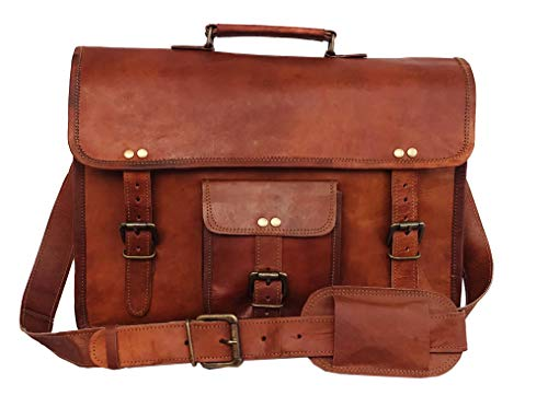 664f4f135abf DHK 14 Inch Vintage Handmade Leather Messenger Bag for Laptop Briefcase  Best Computer Satchel School distressed Bag
