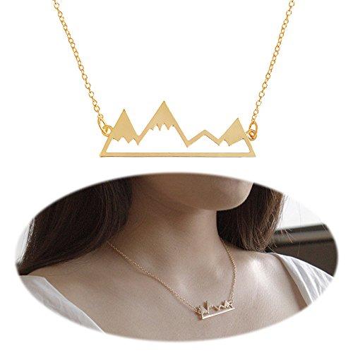 Mountain Necklace Snowy Peak Pendants Dangle Natural Minimalist Choker Collarbone Collar Chain Unique Women Cute Delicate Charms Jewelry Golden (Mountain Necklace)