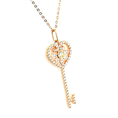 United Elegance - Trendy Rose Gold Tone Designer Necklace with a Faux Canary Yellow Sapphire Center and Swarovski Style Crystals (Rose Key)