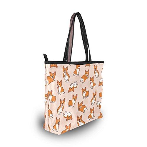 Cartoon Corgis Pattern Tote Bags Women's Stylish Travel Totes Fabric Zippered Tote for Shopping Handbag by Juilyu (Image #5)