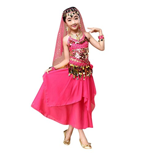 Girl's Belly Dance Costume, TOOPOOT Kids India Dance Outfit Top + Skirt (10-11Yeras, hot pink) - Arabic Dance Costumes Children