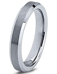 Tungsten Wedding Band Ring 4mm Men Women Comfort Fit Grey Bevel Edge Brushed Polished