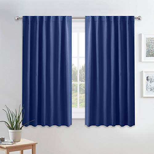 PONY DANCE Blackout Curtains Set - Thermal Insulated Back Tab & Rod Pocket Block Out Sunlight Draperies for Nursery & Kids' Room, 52 Wide by 54 Long, Navy Blue, Set of 2