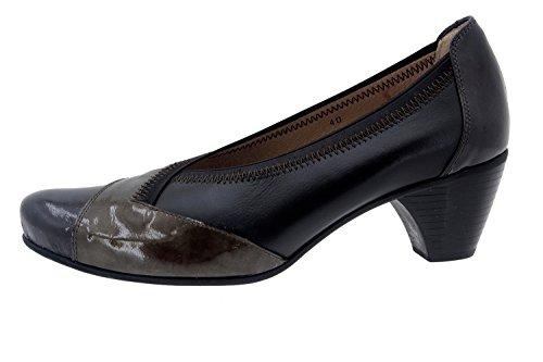 Calzado mujer confort de piel Piesanto 5408 abotinado zapato casual cómodo ancho Gris/Piel