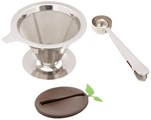 Pour Over Coffee Maker, 1-4 Cup Reusable Filter Stainless Steel Cone Dripper – Double, Superior Filtering