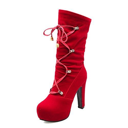 Resistant Fashion Womens Suede AdeeSu Comfort Red Boots Platform Slip SXC02010 Ow6fFqv