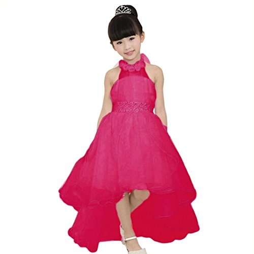 oka Kids Lace Flower Halter Sleeveless Princess Birthday Evening Party Pageant Ball Gown Elegant Tutu Skirts Clothes Cute Summer Formal Casual Sundress (9-10T/150, Hot Pink) (Discount Flower Girl Dresses)