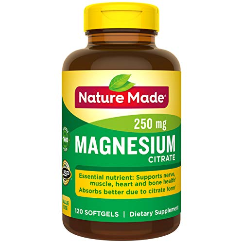 Nature Made Magnesium Citrate 250mg Softgels, 120 Count for Nutrition Support† (Packaging May Vary)