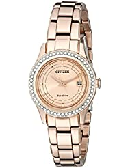Citizen Womens Eco-Drive Silhouette Crystal Rose Gold-Tone Watch with Date, FE1123-51Q