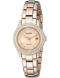 Womens Eco-Drive Silhouette Crystal Rose Gold-Tone Watch with Date, FE1123-