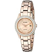 Citizen Women's Eco-Drive Silhouette Crystal Rose Gold-Tone Watch with Date, FE1123-51Q