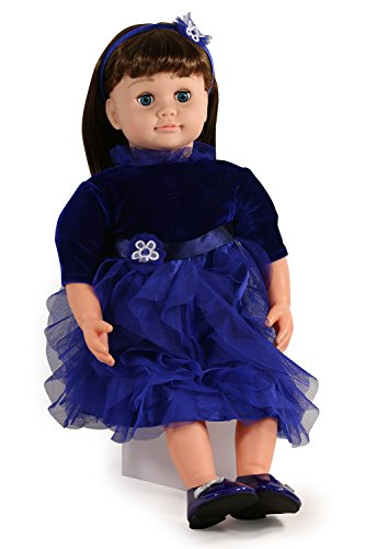 Ask Amy 22  Talking Interactive Singing Storytelling Smart Educational Doll Brunette Blue Dress Holiday Edition