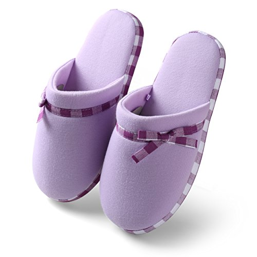 Cotton Indoor Indoor On Shoes Toe Close Foam Memory Slipper Aerusi 008 Lilac House Women's Bedroom Slip pqBwx5
