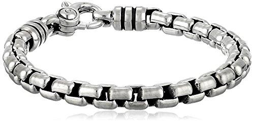 "Zina Sterling Silver Men's Stratus Bracelet with Wide Venetian Chain, 8.5"""