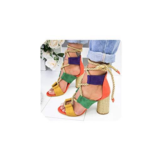 Wedge Espadrilles Women Sandals Heel Pointed Fish Mouth Sandals Hemp Rope Lace Up Platform Sandal,Orange,36