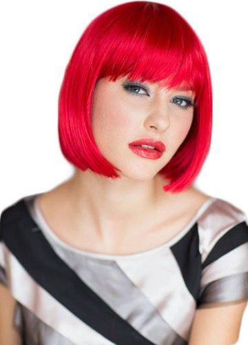 Annabelle, rojo brillante corte recto Bob peluca de la peluca: Maisy 200 G