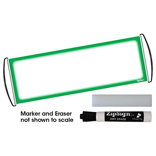 "(Green Border Set - ZipSign Dry Erase Banner Set Includes: Banner, Black Dry Erase Marker and Eraser - Rolls Itself Up, Unrolls to 9.5"" x 27"", Reusable, Handheld, Portable, Fits In Your Pocket)"