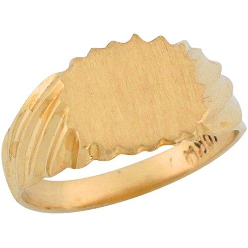 Jewelry Liquidation 14k Yellow Gold Fancy Rectangle Signet Designer Baby Ring