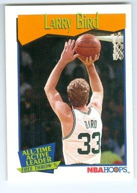 Larry Bird basketball card (Boston Celtics) 1991 NBA Hoops #532 All Time Free Throw -