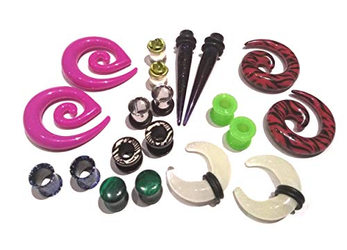 - Zaya Body Jewelry 8 Pair Assortment Mix of Ear Plugs Tapers Spirals Tunnels Acrylic Steel Organic Gauges Sizes 8g-5/8 (0g 8mm)