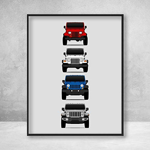 (Jeep Wrangler Poster Print Wall Art of the History and Evolution of the Wrangler Generations (Car Models: YJ, TJ, JK, JL))