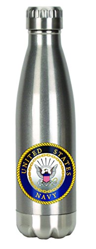 Spoontiques 20631 U.S. Navy Stainless Steel Water Bottle, Silver