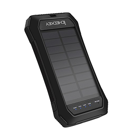 Price comparison product image ICHECKEY Solar Power Bank ,10000mAh Portable Solar Charger Waterproof/Shockproof/Dustproof Dual USB Battery Bank with Emergency lights for Outdoor Activities