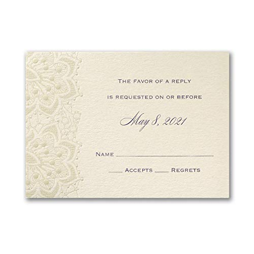 1050pk Lace Shimmers - Response Card and Envelope-Shop All Wedding