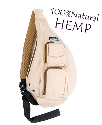 Meru Sling Backpack Bag - Small Single Strap Crossbody Pack for Women and Men (Natural Hemp)