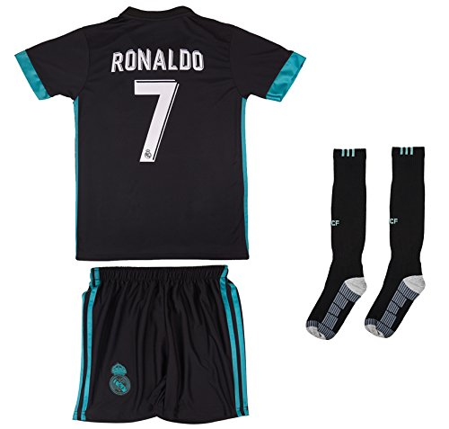 Soccer Youth Jersey Set  Real Madrid  Away Jersey  2017 2018  # 7 Ronaldo (2-3 ages  X-Small)